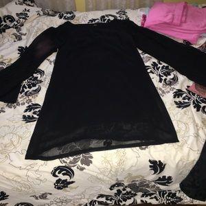 Mid length black bell sleeve dress